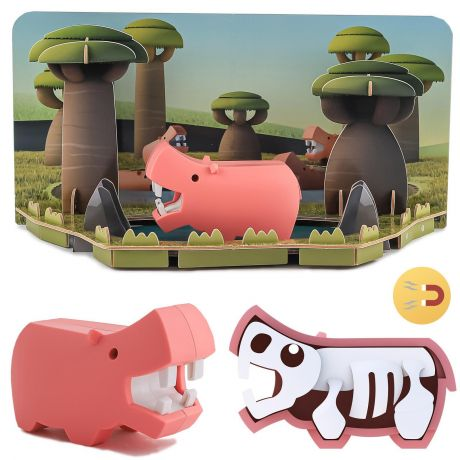 Halftoys Magnetic 3D Animal Jigsaw Puzzle - Hippo
