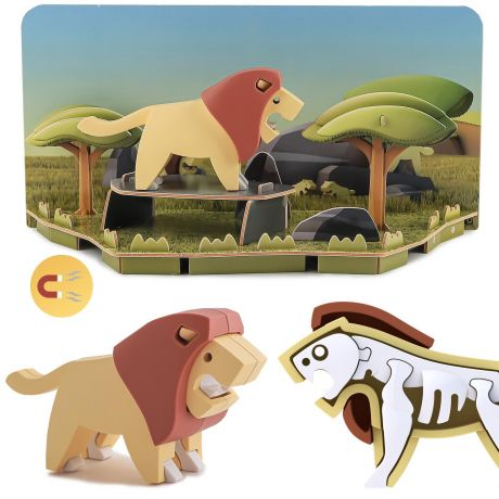 Halftoys Magnetic 3D Animal Jigsaw Puzzle - Lion