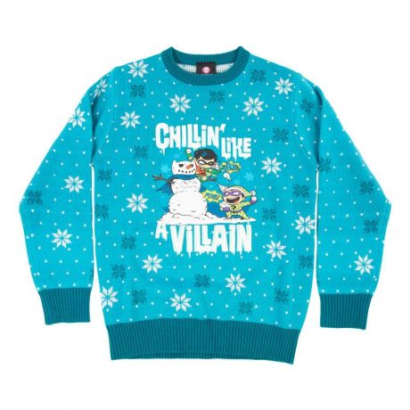 Official DC Comics 'Chillin like a villian' Kids Christmas Jumper / Ugly Sweater - KIDS Age 5-6
