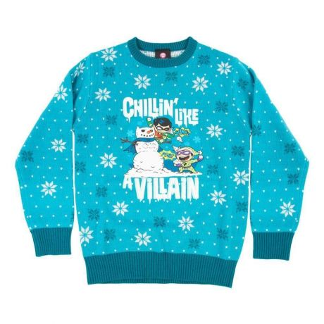 Official DC Comics 'Chillin like a villian' Kids Christmas Jumper / Ugly Sweater - KIDS Age 9-10