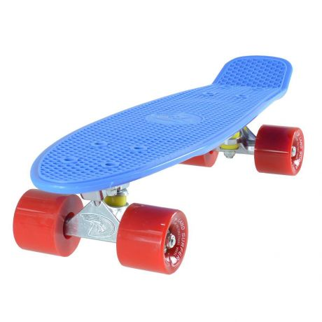 Land Surfer Cruiser Skateboard - Blue Board - Solid Red Wheels