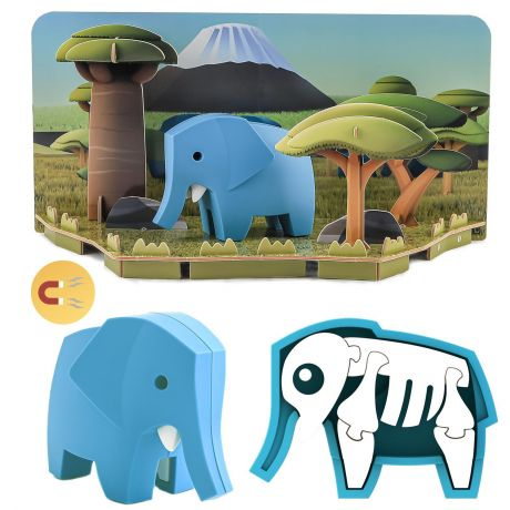 Halftoys Magnetic 3D Animal Jigsaw Puzzle - Elephant