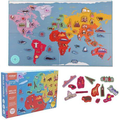 Mideer 148 Pieces Magnetic Kid's Jigsaw Puzzle - Magnetic Educational Map of the World