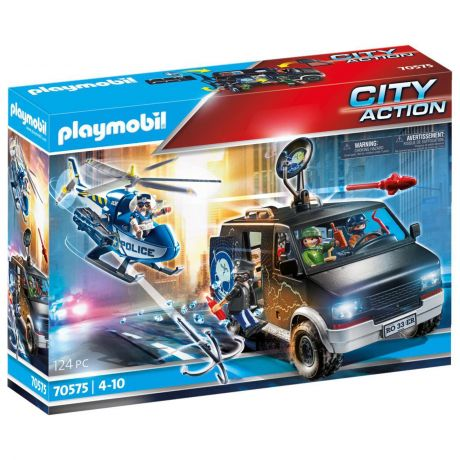 Playmobil Police Helicopter Pursuit with Runaway Van - City Action 70575