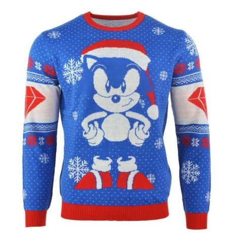 Sonic the Hedgehog Sonic Emerald Christmas Jumper / Ugly Sweater UK 2XL / US XL