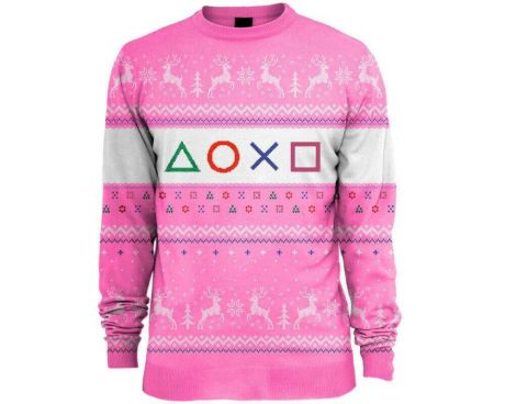 Playstation Pink Christmas Jumper / Ugly Sweater - UK XS / US 2XS