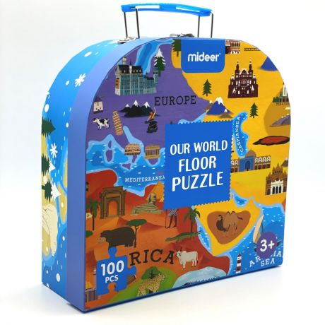 Mideer 100 Piece Gift Box Jigsaw Puzzle – World Map Floor Puzzle