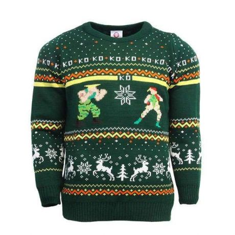 Street Fighter Guile vs Cammy Christmas Jumper / Ugly Sweater - UK S / US XS