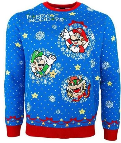 Nintendo Super Mario Christmas Jumper / Ugly Sweater UK XL / US L