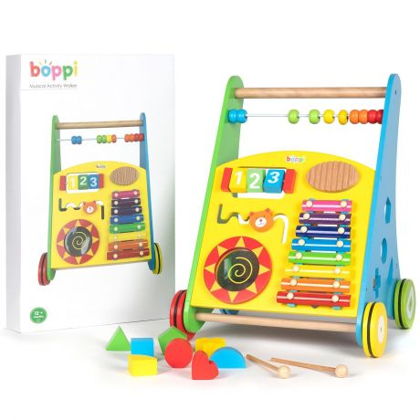 boppi Wooden Musical & Sensory Experience Activity Walker for Toddlers and Babies 12 Months Plus. With an Abacus Number Dial, Glockenspiel, Animal Bear Slider, Drum, Shape Sorter with Coloured Shapes. Available from bopster.eu, bopster.co.uk