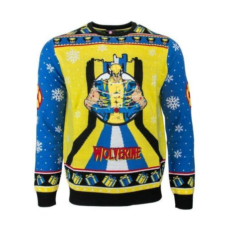 Marvel Wolverine Xmas Tree Lights Christmas Jumper / Ugly Sweater UK 3XL / US 2XL