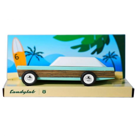 Candylab – Wooden Toy Junior Woodie Blue Vehicle in packaging