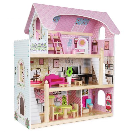 boppi Wooden Dolls House with 16 Furniture Play Accessories