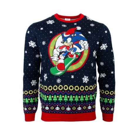 Sonic the Hedgehog Snowboarding Christmas Jumper / Ugly Sweater - UK XS / US 2XS