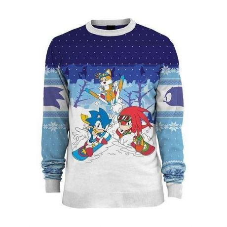 Sonic the Hedgehog Skiing Christmas Jumper / Ugly Sweater UK 2XL / US XL