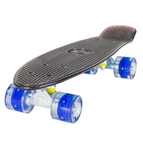 Land Surfer Cruiser Skateboard - Clear Black Board - LED Blue Wheels