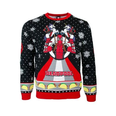 Marvel Deadpool Unicorn Christmas Jumper / Ugly Sweater UK 3XL / US 2XL