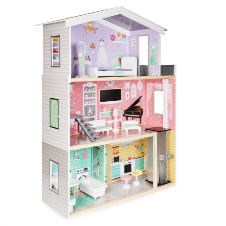 boppi Wooden Dolls House with 10 Furniture Play Accessories and Lift/Elevator
