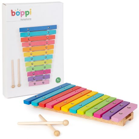 boppi Wooden Toy Rainbow Xylophone with Colour Packaging Box