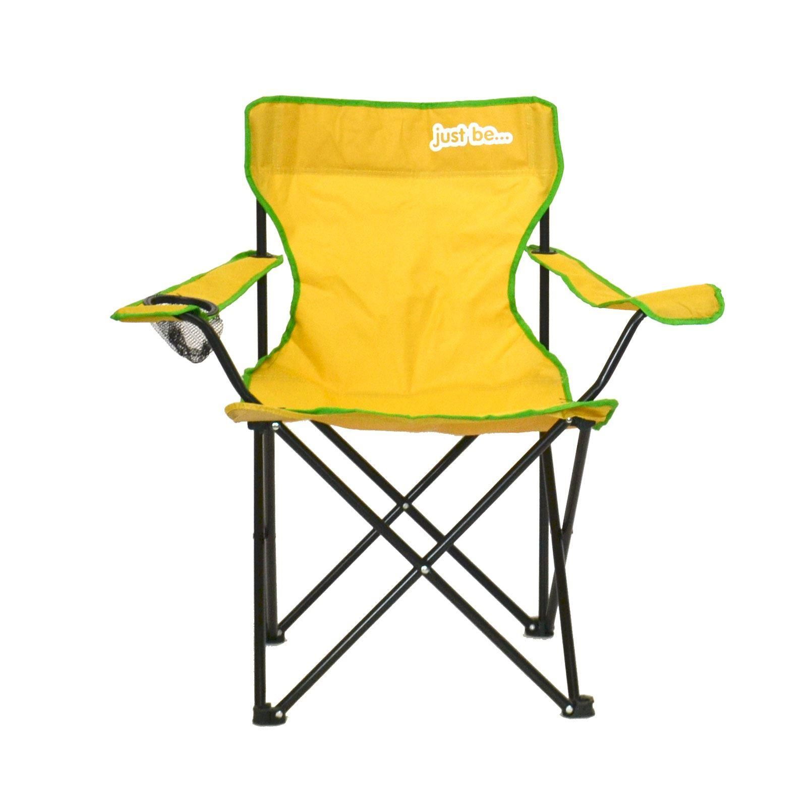 just be Yellow Folding Camping Chair Green Trim