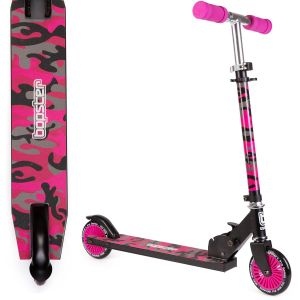 bopster 2 wheeled scooter pink camo side view and view above