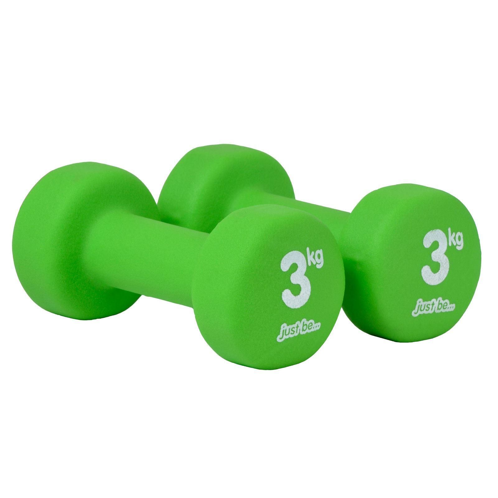 just be Green 3kg Fitness Dumbbell Twin Pack Top View