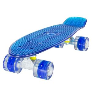 Land Surfer Cruiser Clear Blue Skateboard LED Blue Wheels