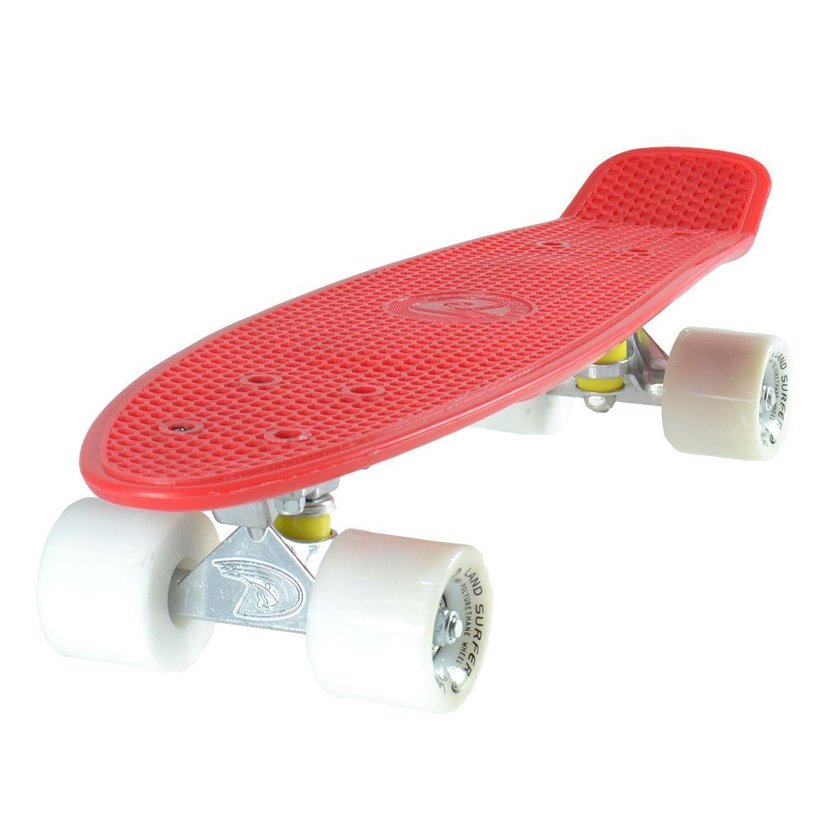 Land Surfer Cruiser Red Skateboard White Wheels