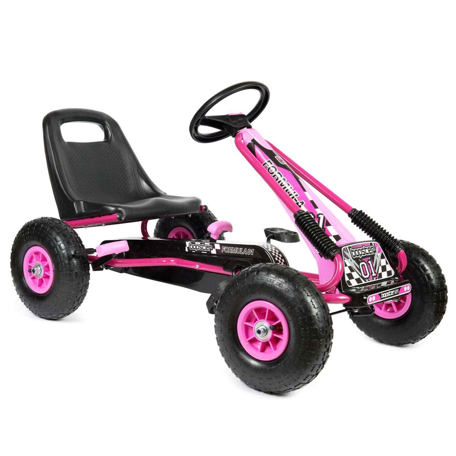 pedal-go-kart-with-inflatable-wheels-pink-main-view