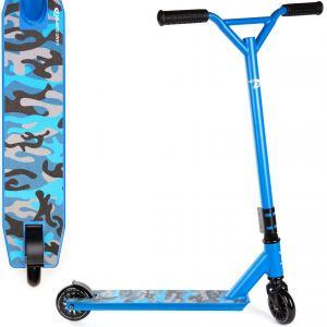 Blue Camo Land Surfer Stunt Scooter with Deck Design View on a White Background