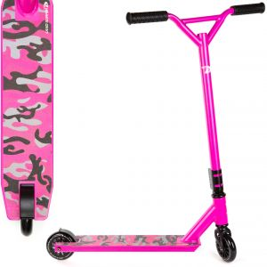Pink Camo Land Surfer Stunt Scooter with Deck Design View on a White Background